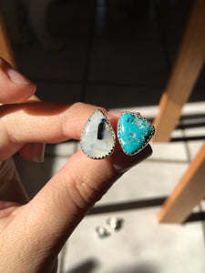 Moonstone and White Water turquoise DBL ring: size 7-7.5