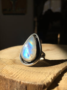 Rainbow moonstone shadowbox ring - size 7.25