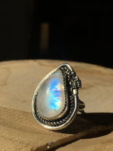 Load image into Gallery viewer, Rainbow Moonstone with Scorpion statement ring - size 7.5