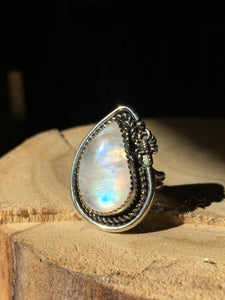 Rainbow Moonstone with Scorpion statement ring - size 7.5
