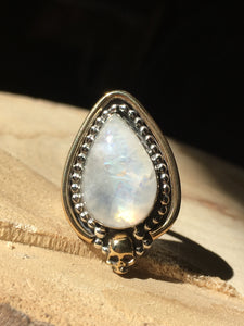 Brass skull Yellow flash moonstone ring - size 6/6.25