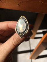Load image into Gallery viewer, Brass skull Yellow flash moonstone ring - size 6/6.25