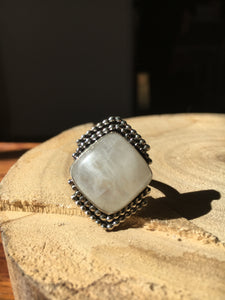 Square moonstone with beaded wire details ring - size 9
