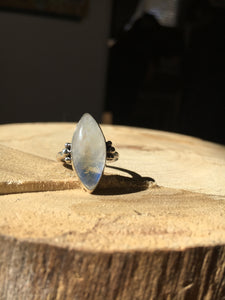 Blue flash moonstone marquis ring - size 5.5