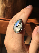 Load image into Gallery viewer, Moonstone with Black Tourmaline ring - size 7