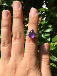 Amethyst stacker ring set - size 5.75
