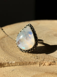 Plump Moonstone Pear ring with Chain detail - size 7.5