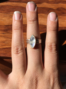Moonstone Marquis Stacker ring set - size 8