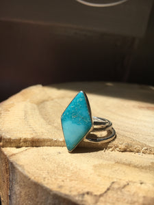 White Water turquoise diamond Stacker Ring Set - size 5