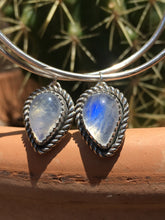 Load image into Gallery viewer, Flashy Blue Moonstone Hoop earrings