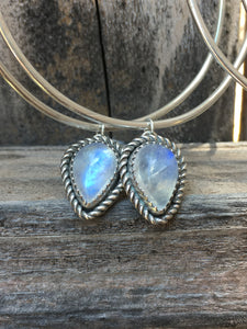 Flashy Blue Moonstone Hoop earrings