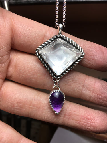 Geometric quartz with amethyst teardrop necklace