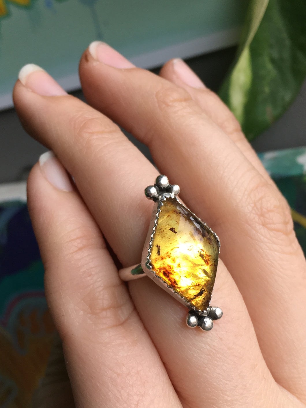 Glowy Mexican amber diamond ring - size 6.5