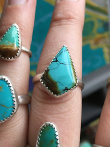 Kite shaped Hubei turquoise ring - size 8