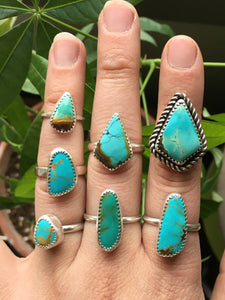 Kite shaped Hubei turquoise ring - size 6