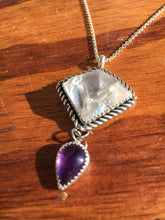 Load image into Gallery viewer, Geometric quartz with amethyst teardrop necklace