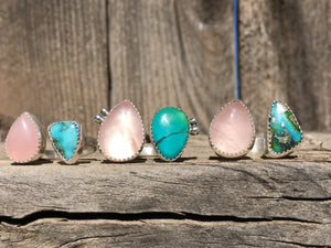Rose quartz and Sonoran Gold turquoise double ring - size 6-7
