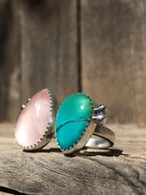 Load image into Gallery viewer, Shimmery rose quartz and teal Hubei turquoise double ring - size 8-9