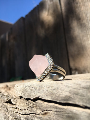 Geometric cut rose quartz ring - size 6