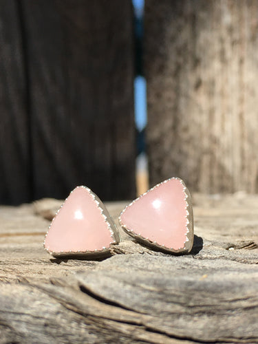 Rose quartz triangle studs