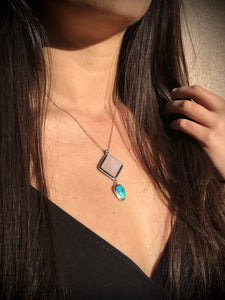 Rose quartz pyramid with Sierra Nevada turquoise necklace