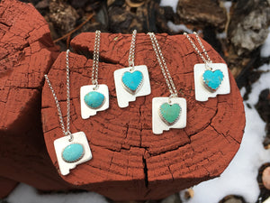 NM Love necklace - Blue Kingman turquoise heart