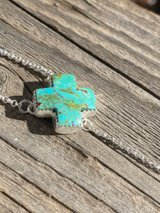 Kingman Turquoise 'X' with Black Onyx Lariat Necklace