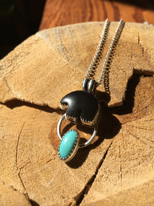 Osito Necklace #3 - Black onyx with Campitos turquoise