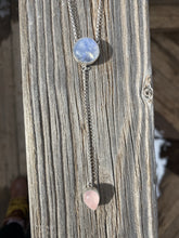 Load image into Gallery viewer, Round Moonstone with Rose Quartz Lariat Necklace