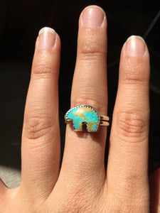 Osito Ring #6 - Light blue with brown matrix (size 10)