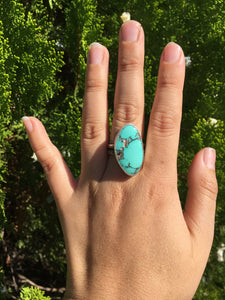 Natural Hubei chunky turquoise ring - size 8.5/9