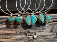 Load image into Gallery viewer, Polychrome Kingman Turquoise Dangle Hoops