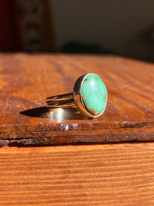 Simple Green Turquoise Ring—size 5