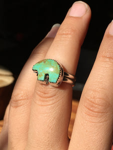 Osito Ring #5 - Light green with brown swirls (size 8.5)