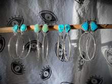 Load image into Gallery viewer, Gold Matrix Kingman Turquoise Beaded Post Hoops