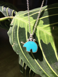 Osito Necklace #2 - Bright blue turquoise