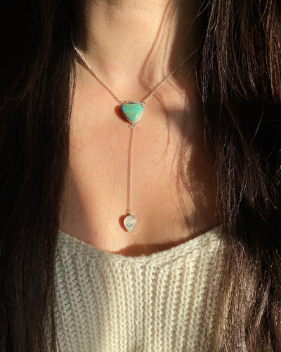 King's Manassa Turquoise with Moonstone Lariat Necklace