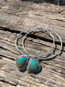 Polychrome Kingman Turquoise Dangle Hoops