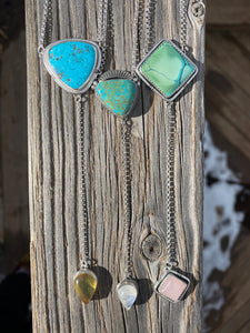 Hubei turquoise with Rose Quartz Lariat Necklace