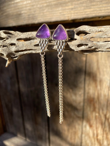 Amethyst chain dangle earrings