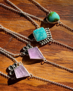 Whitewater Turquoise with Rosecut Moonstone Lariat