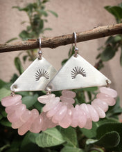 Load image into Gallery viewer, Rose quartz half sun earrings (custom listing)