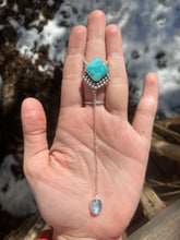 Load image into Gallery viewer, Whitewater Turquoise with Rosecut Moonstone Lariat