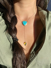 Load image into Gallery viewer, Persian Turquoise with Mexican Amber Lariat