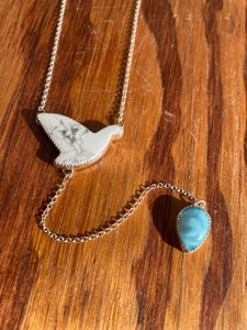 Howlite Dove with Swirly Larimar Lariat Necklace