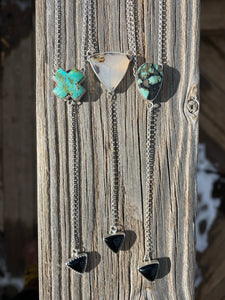 Saguaro Variscite with Black Onyx Lariat Necklace