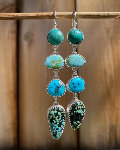 4 Stone Turquoise Droplet Earrings