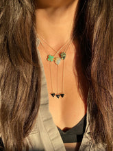 Load image into Gallery viewer, Kingman Turquoise 'X' with Black Onyx Lariat Necklace