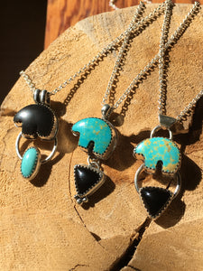 Osito Necklace #5 - Light teal turquoise with black onyx