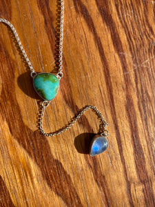 Sonoran Gold Turquoise with Moonstone Lariat